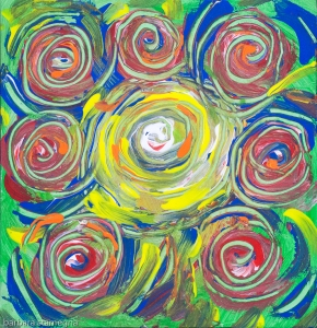 Colored whirlpool shapes abstract image with concentric lines and spots of color