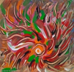 Flaming vortex like abstract image with converging lines of fluid colors