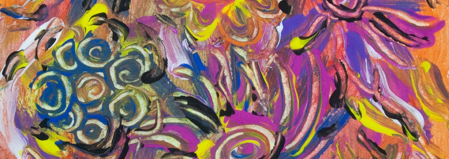 Flower composition abstract image with fluid brushstrokes, lines and round shapes