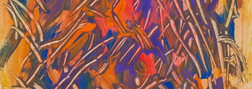 Dominant purple and orange abstract image with shades, spots of color and lines