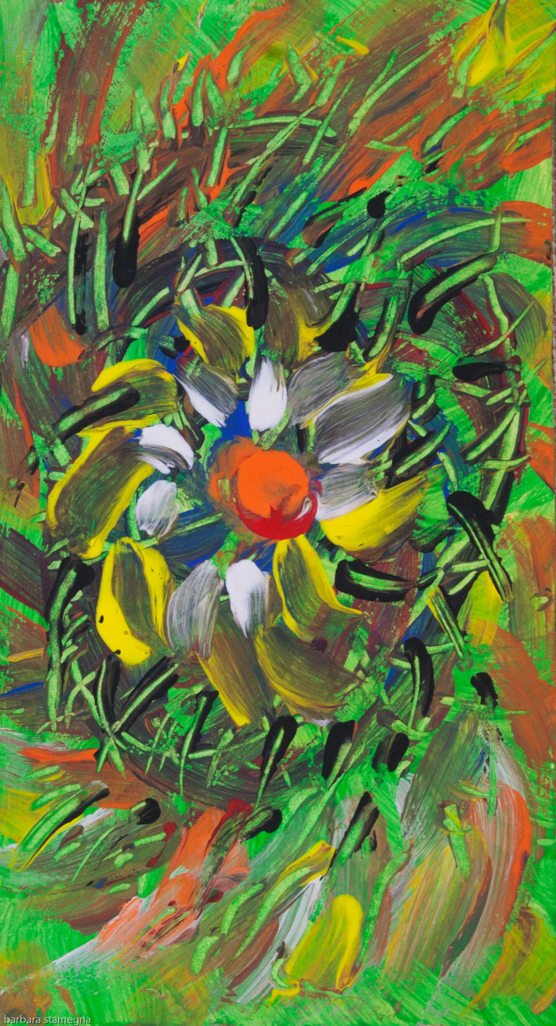 Abstract savage flower in meadow like image with irregular shapes and lines