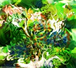 abstract multicolred dynamic image with fluid elements in dominant green and white tones