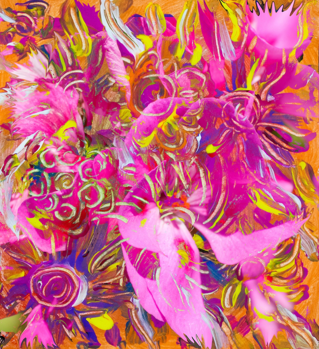pink orange flower abstract art