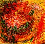 abstract dynamic art image with central white curving shape in dominant red and yellow tones