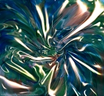 liquid shining vortex abstract art image in dominant blue and green colors with white converging shapes