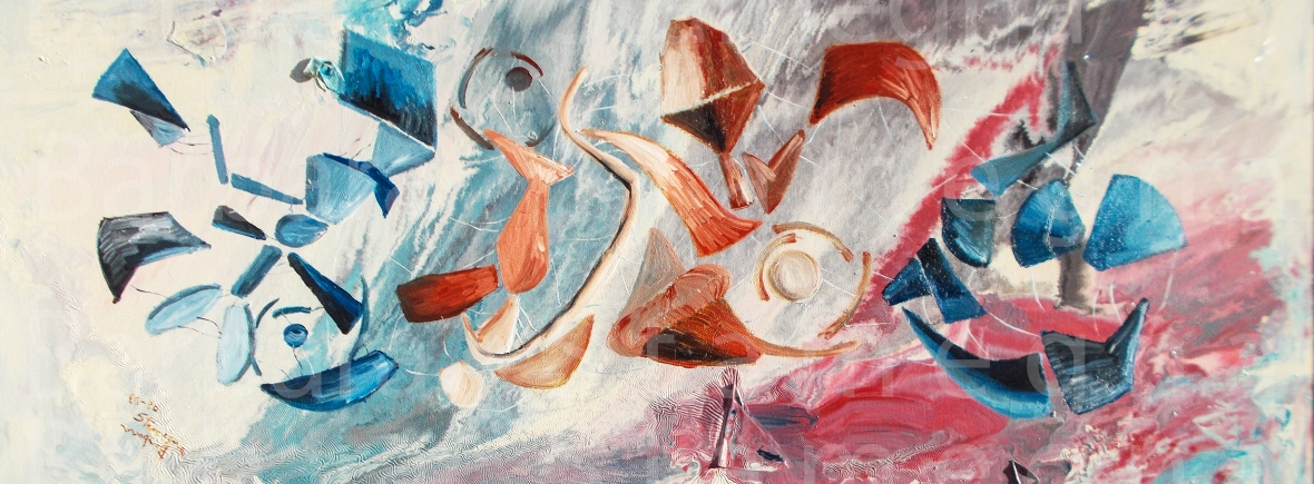 Contrasts in the Blue abstract painting in blue and red floating abstract shapes on white background, with pink and blue tones