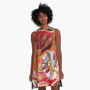a-line dress with with dominant red abstract art design