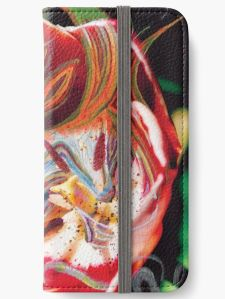 device cover with dominant red abstract art design