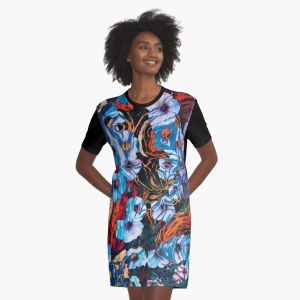 grafic dress for women with floral mottled indigo abstract design applied