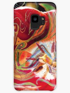 phone skin with dominant red abstract art design