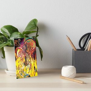 art board with revealing fire abstract bright colors art image with yellow flames like shapes on multicolored background