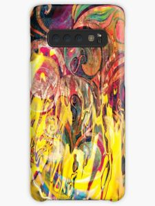 case skin with revealing fire abstract bright colors art image with yellow flames like shapes on multicolored background
