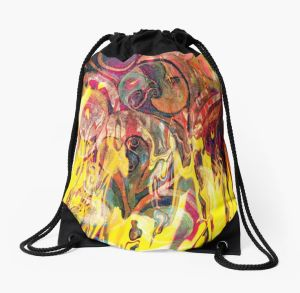 drawstring bag with revealing fire abstract bright colors art image with yellow flames like shapes on multicolored background