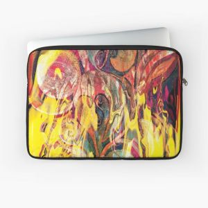 laptop sleeve with revealing fire abstract bright colors art image with yellow flames like shapes on multicolored background