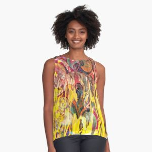 contrast tank with revealing fire abstract bright colors art image with yellow flames like shapes on multicolored background