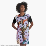 woman grafic dress design with abstraction of floating ethereal indigo flowers like art image on multicolored mottled background