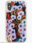 iphone case with abstraction of floating ethereal indigo flowers like art image on multicolored mottled background