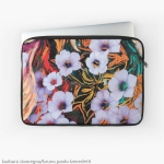 laptop sleeve with abstraction of floating ethereal indigo flowers like art image on multicolored mottled background