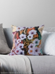 throw pillow with abstraction of floating ethereal indigo flowers