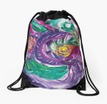 drawstring bag with purple tones mottled abstract art image with swirls and rounded circular shapes in green,white fuchsia,purple and yellow colors