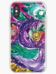 phone case with purple tones mottled abstract art image with swirls and rounded circular shapes in green,white fuchsia,purple and yellow colors