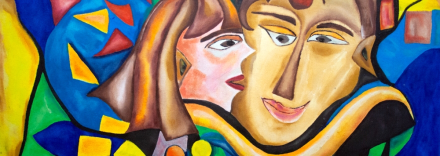abstract image iwith a woman and man heads central figure and the woman in the act kissing the man's cheek, with abstract round and bended shapes and geometric forms.