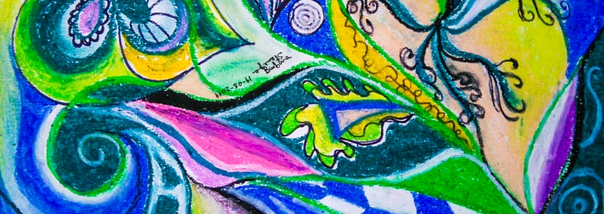 Abstract image with dynamic shapes and forms in movement, in dominant blue and green tones with swirls, circles and concentric shapes, with leaf and flower like shapes and with curved and geometric forms and curls and bended lines, in blue, green, yellow, black, white, pink and purple tones, with shades.