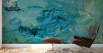 abstract blue sea sinkhole with green,yellow and white streaks, adhesive mural print on a studio wall
