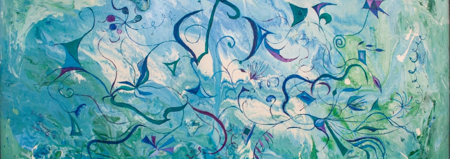 Abstract orient impressions like image with blue, green, purple floating shapes and bent floating lines on blue, white, green water like mottled enamel background