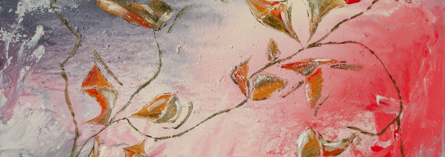 Abstract painting evoking a tepid fall with yellow, green, white, red, orange, brownish leaf and flowers like shapes and branches and lines on pink, white, gray, red, enamel rough texture background, with nuances and shades.