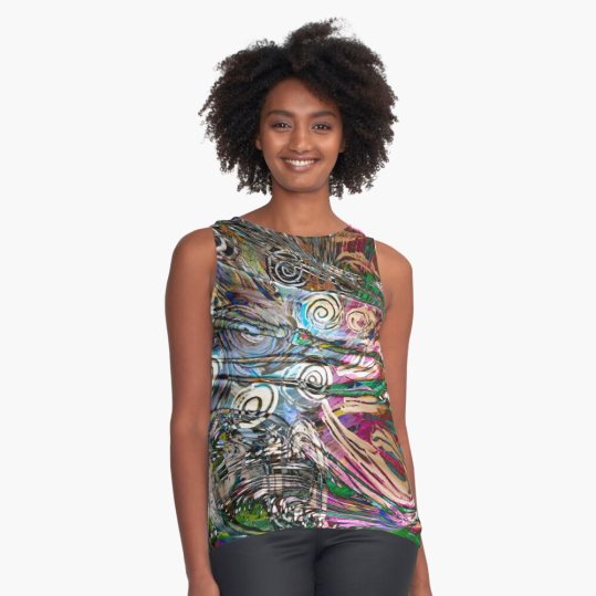sleeveless top with abstract fluid enegetic flow pattern