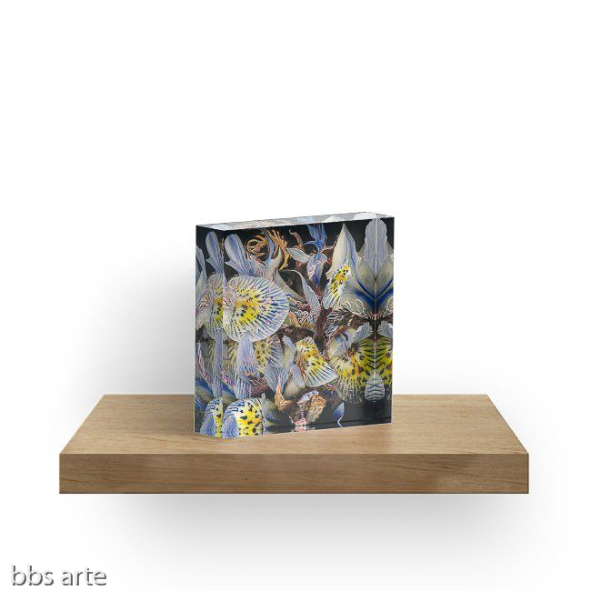 acrylic block with dominant indigo petals abstract design