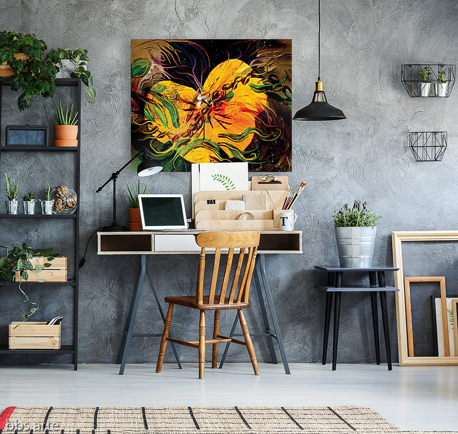 canvas print with yellow flower and green floating shapes