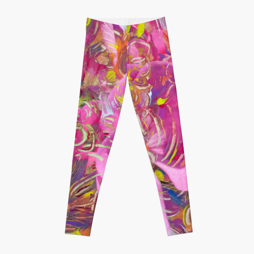 pink orange tones mottled leggings with abstract flower fantasy