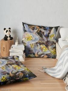 floor pillow with dominant indigo petals abstract design