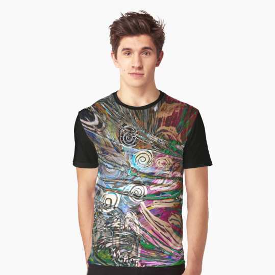 graphic t-shirt with abstract fluid enegetic flow pattern