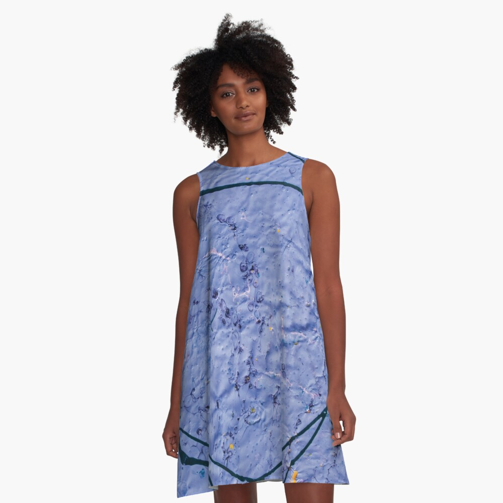absract rough indigo pattern a-line woman dress