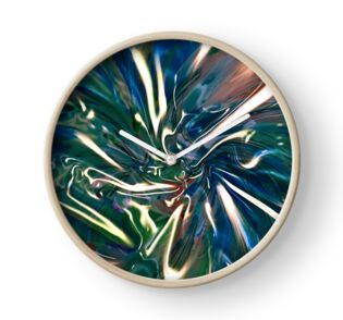 wall clock with liquid shining vortex pattern