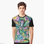 multicolored abstrat cmposition design on graphic t-shirt