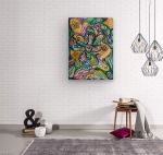 wall with multicolored abstract design on wood print