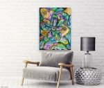wall with multicolored abstract composition design on canvas