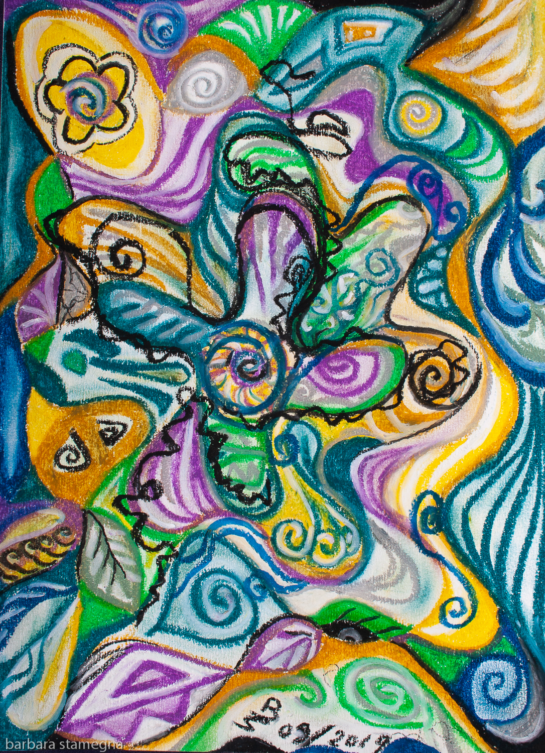 multicolored curved shapes and bended lines abstract image composition in tones of blue,yellow,green,white,purple and black.