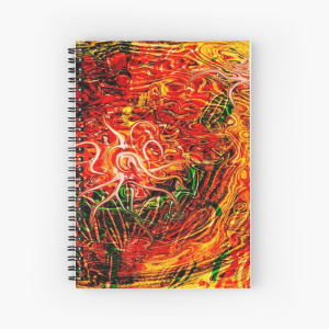 abstract red tones spiral notebook