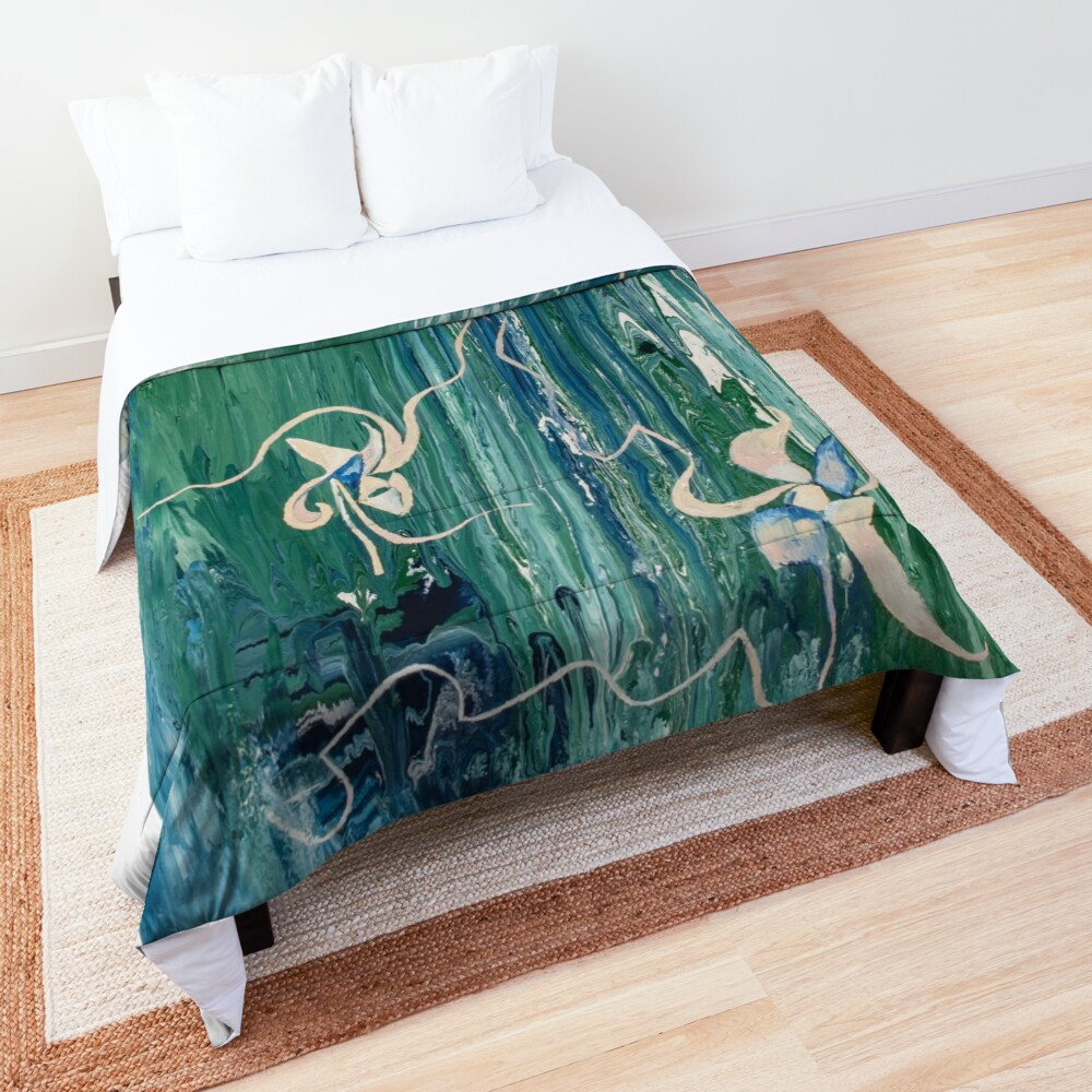 bed comforter with abstract water-like floral pattern