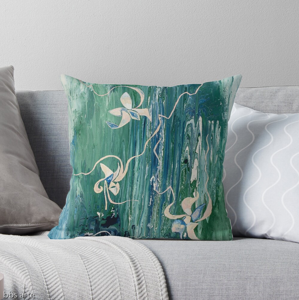 pillow with abstract water-like floral pattern