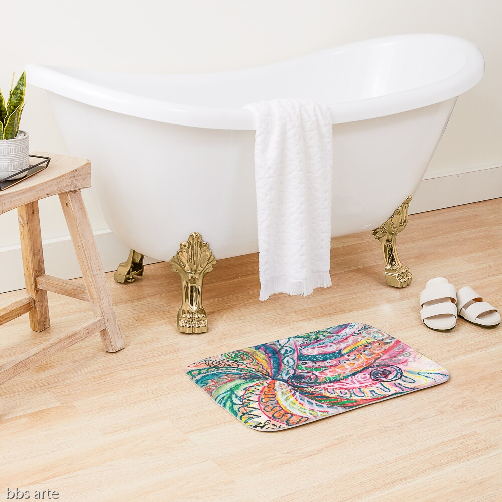 bath mat with abstract concentric nature design in tones of pink, blue, green, orange, black and white with curls and shapes of nature