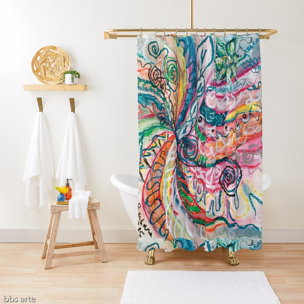 shower curtain with abstract concentric nature design in tones of pink, blue, green, orange, black and white with curls and shapes of nature