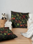 floor pillow with abstract floral geometric red and green shapes on black