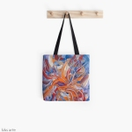 Tote Bag with confluence shape abstract design.