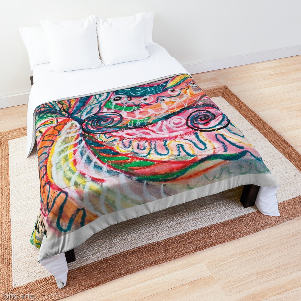 natural shapes abstraction design bed comforter in tones of pink, blue, green, orange, black and white with curls and shapes of nature